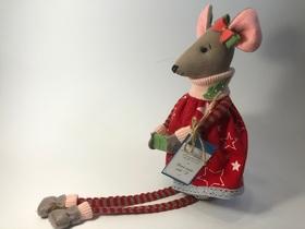 Lalka myszka z paczką przytulanka 100% rękodzieło