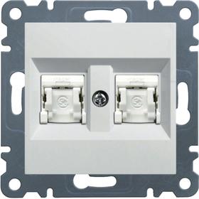 Gniazdo komputerowe 2xRJ45 Cat.5e UPT białe