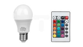 Żarówka LED RGBW, A60, E27, 8W, AC220-240V, 540lm, 70mA, pilot RGBW