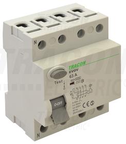 Wyłącznik różnicowo-prądowy, 4-polowy, 63A, 30mA, 6kA, AC