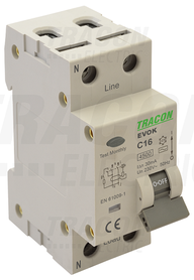 Wyłącznik różnicowo-prądowy z członem nadprądowym, B, 2P, 16A, 3mA, 4,5kA, AC