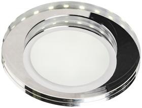 Oprawka stropowa stała, okrągła, szkło transparentne 8W LED + biały ring