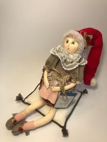 Lalka babcia z robótką kolekcjonerska 100% rękodzieło