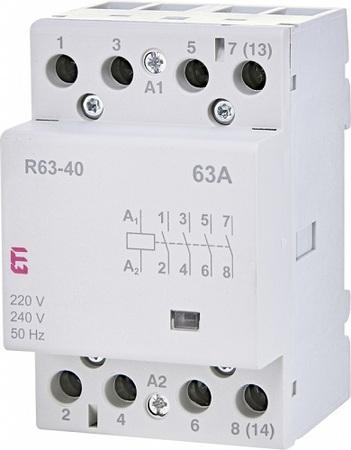 Stycznik modułowy 63A 4 styki zwierne (3 moduły 4-biegunowy) R 63-40 230V (1)